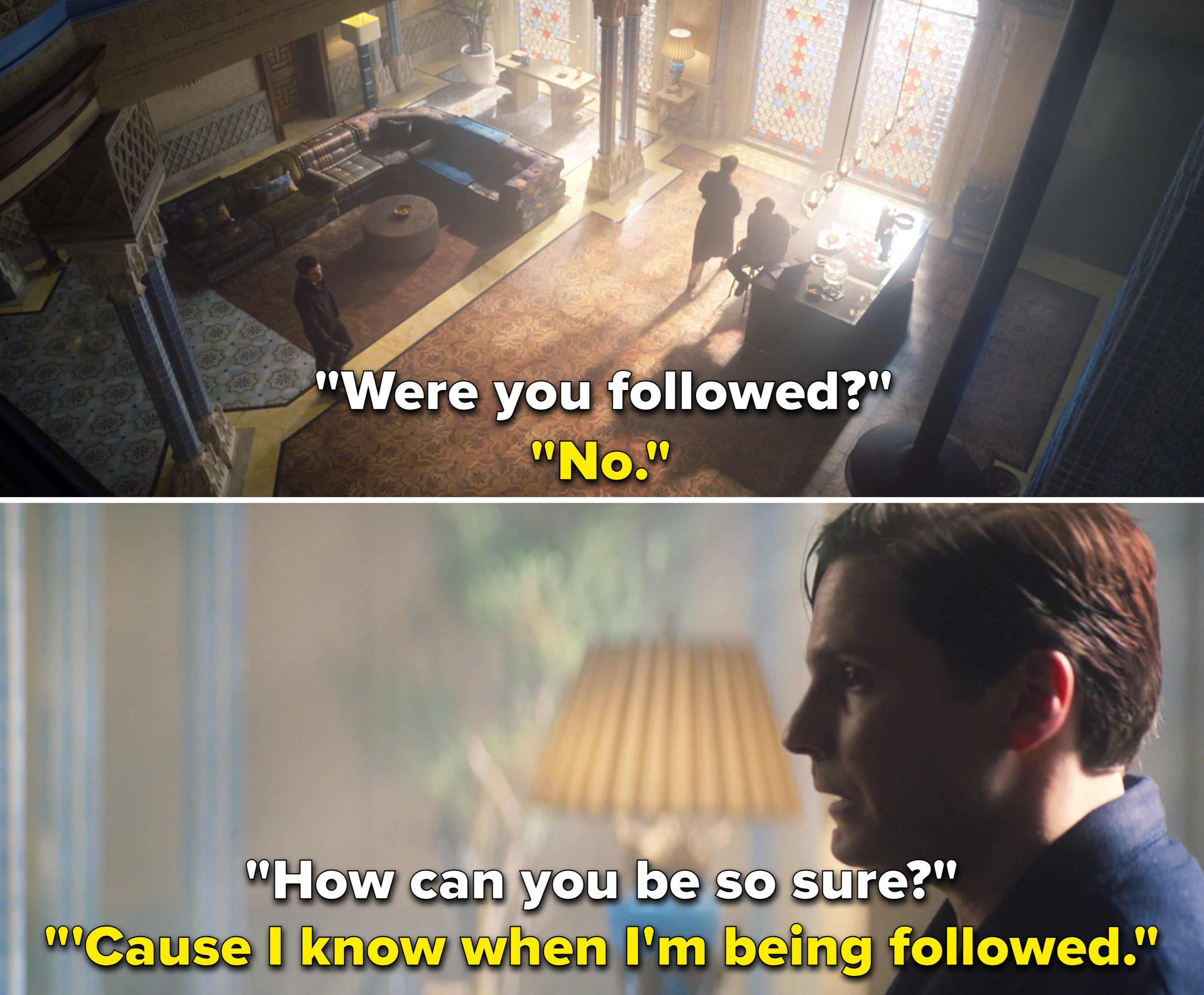 """Bucky telling Zemo and Sam, """"'Cause I know when I'm being followed"""""""