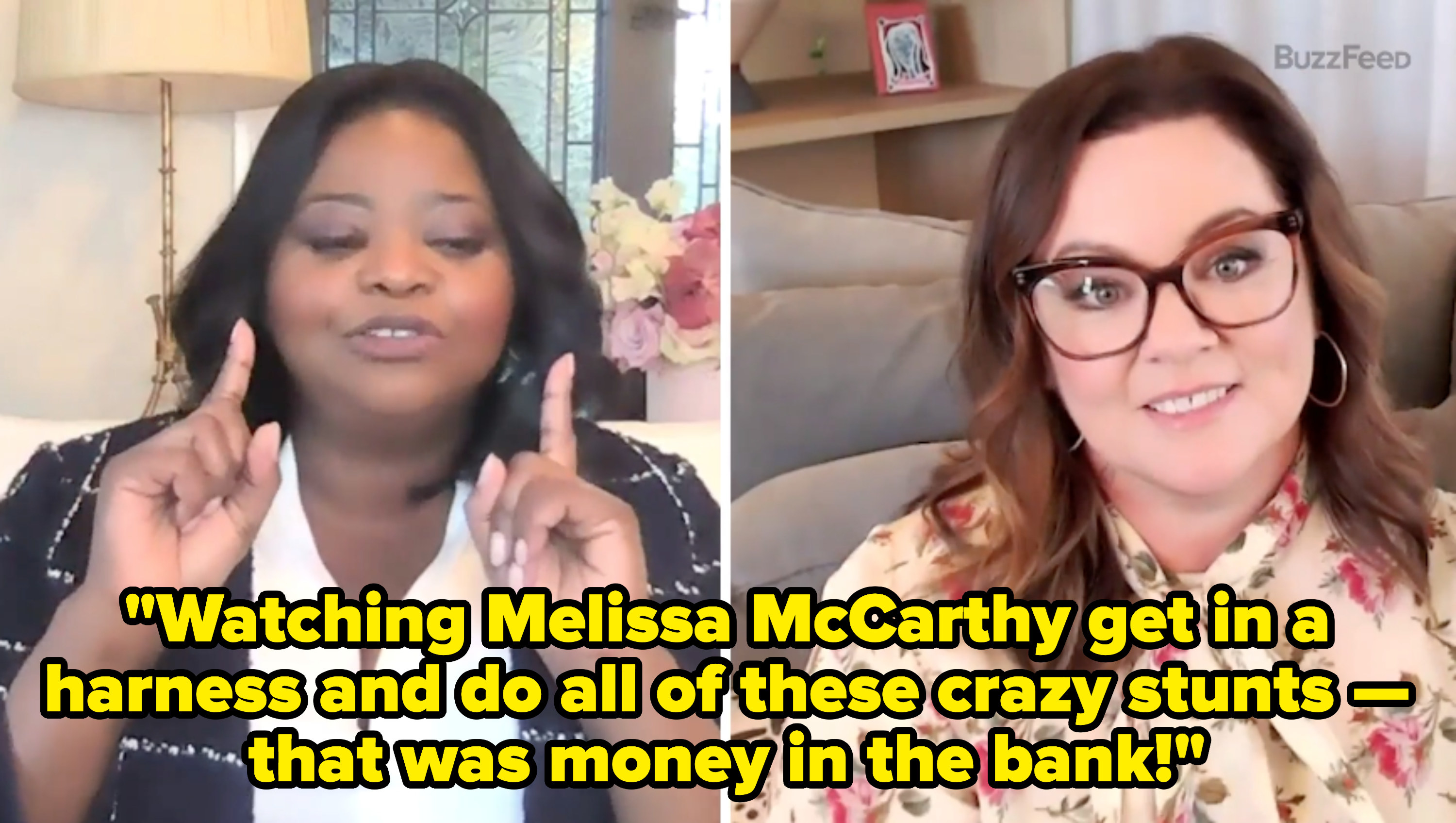 Octavia Spencer and Melissa McCarthy answering questions for a BuzzFeed interview