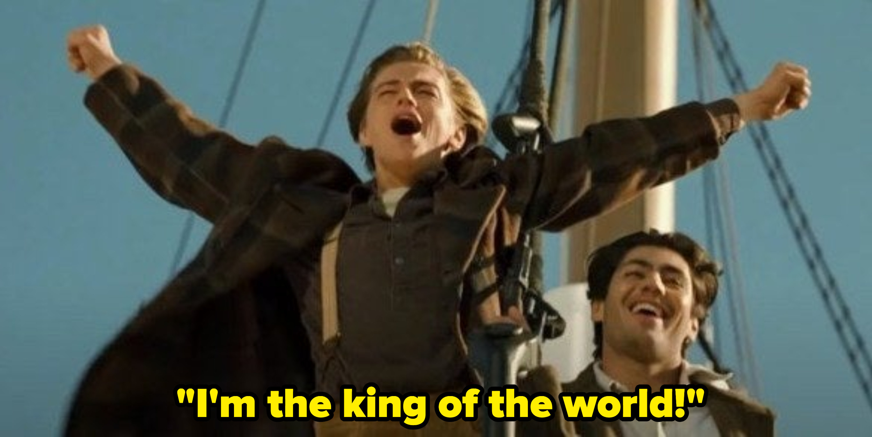 """Jack screaming: """"I'm the king of the world!"""""""