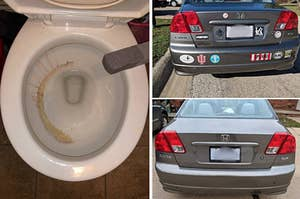 two panels showing a pumice stone being held over a toilet bowl with half a brown ring and a split before and after of a car with bumper stickers and then the same care with those stickers removed