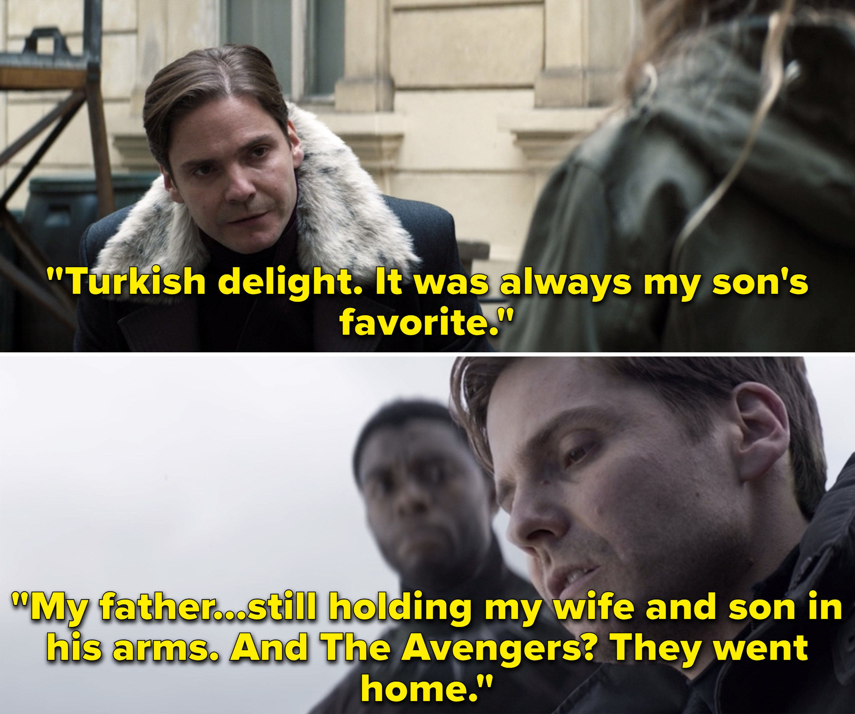 """Zemo in """"Civil War"""" telling T'Challa, """"My father...still holding my wife and son in his arms. And The Avengers? They went home"""""""