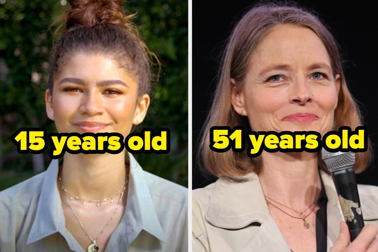 """Side-by-side images of Zendaya with the words """"15 years old"""" and Jodie Foster with the words """"51 years old"""" over top"""