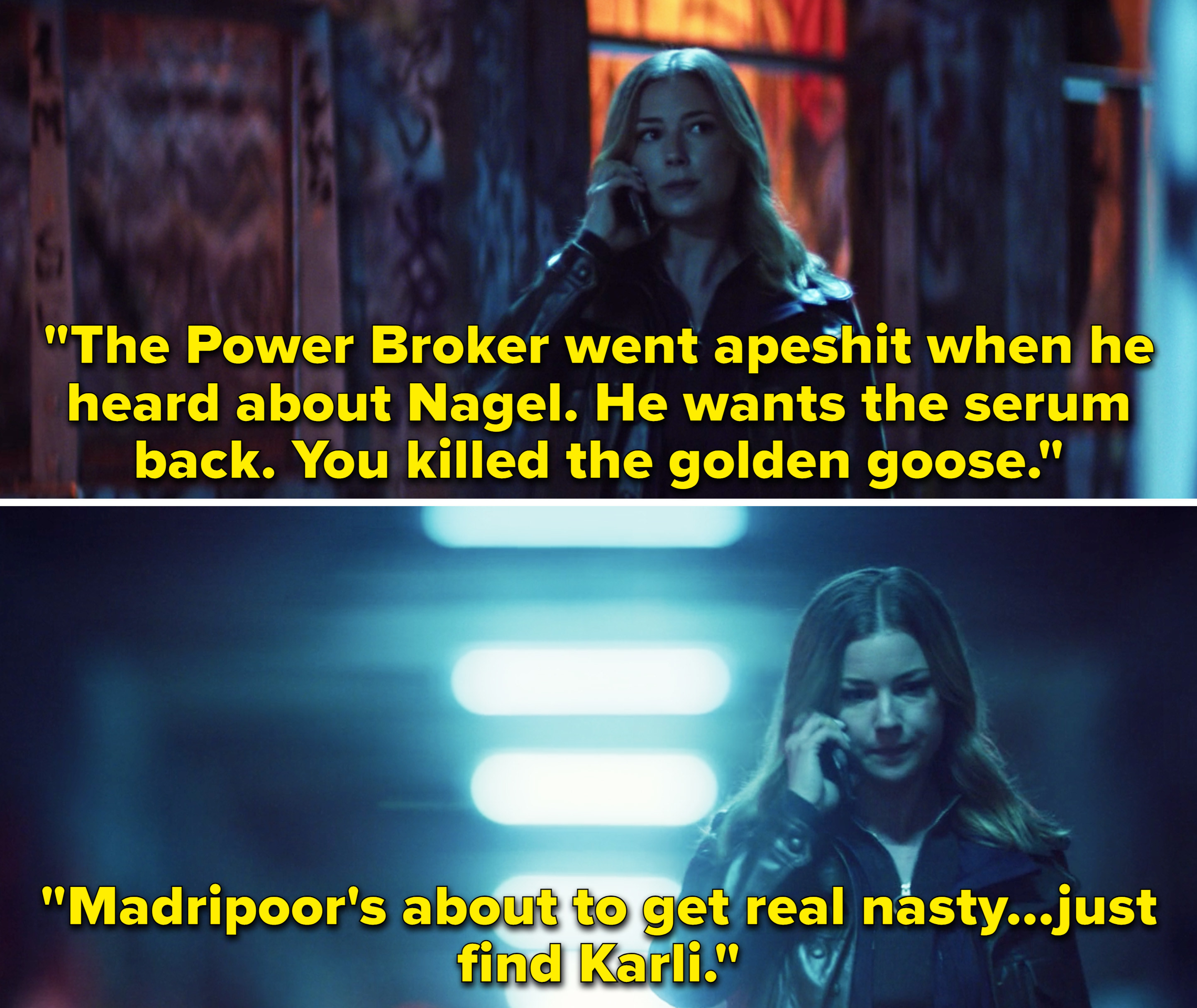 """Sharon saying that the Power Broker went wild after Nagel's death and Madripoor is """"about to get real nasty"""""""