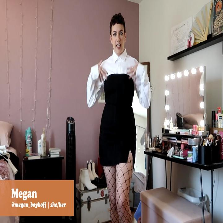 Megan wearing white button down under black strapless dress