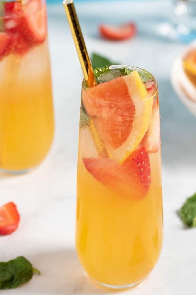Two grapefruit strawberry sodas