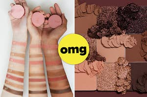 A split thumbnail of arms with different shades applied and an eyeshadow palette