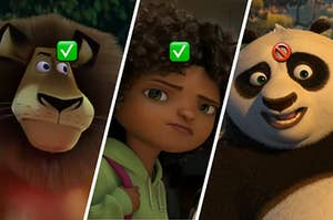 Three DreamWorks characters are labeled with check mark and skip mark emojis