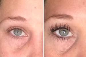 A reviewer's lashes before/after mascara