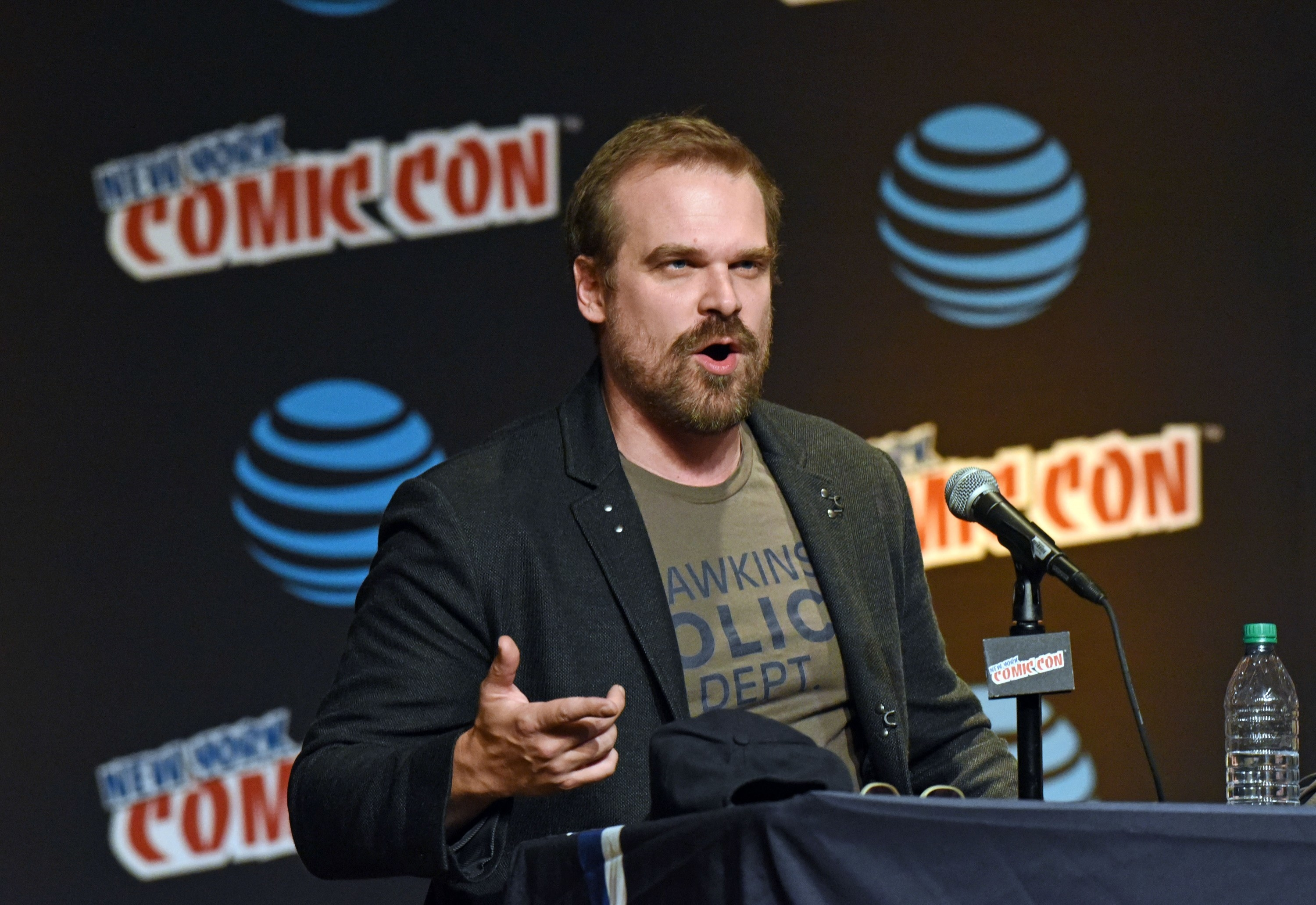 David Harbour at the 2016 New York Comic Con panel for Stranger Things