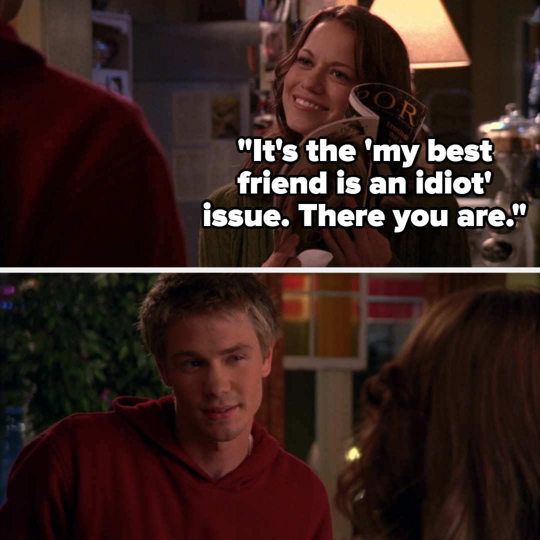 "Haley holds magazine up to Lucas, jokingly calls it the ""'my best friend is an idiot' issue"""