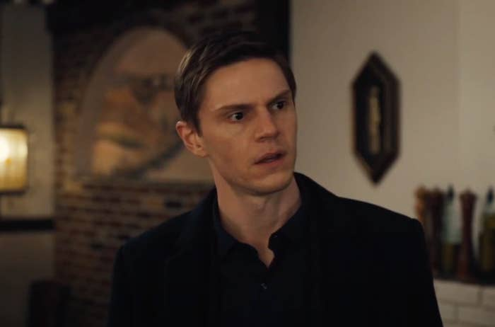"Evan Peters during in a scene in ""Mare of Easttown"""