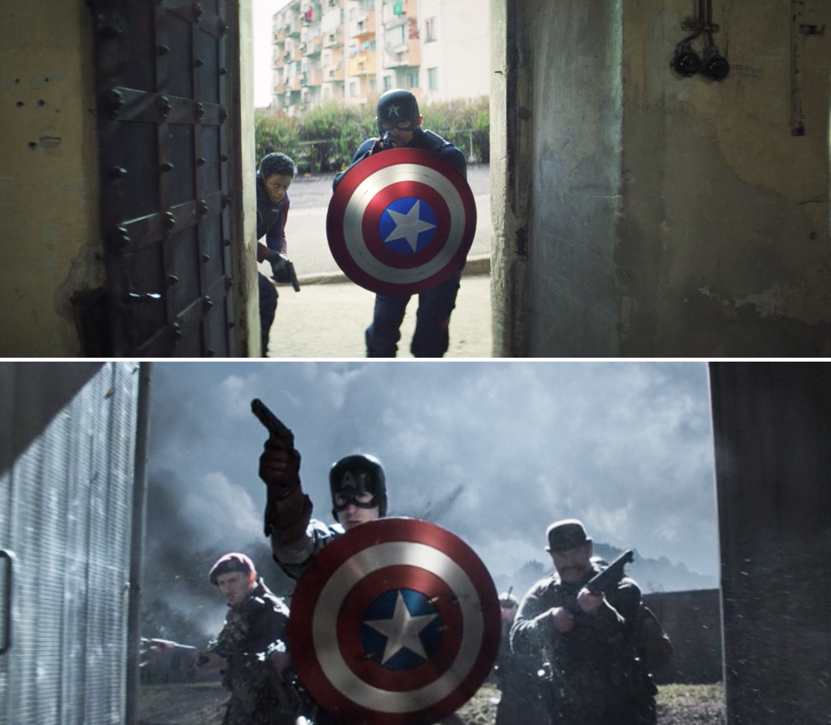 Walker hiding behind the shield vs. Steve hiding behind the shield