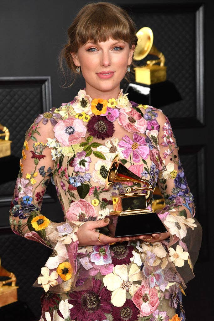 Taylor wearing a flowery dress at the Grammys