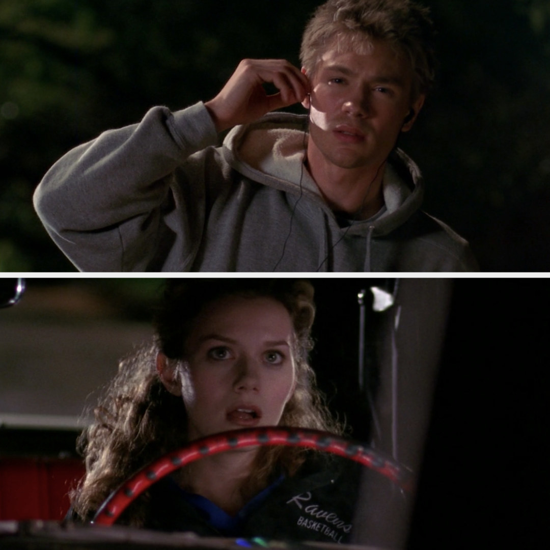 Peyton stares at Lucas with her mouth open after almost running him over with her car