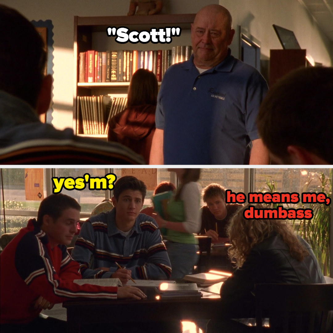"meme of Whitey calling ""Scott"" and Lucas saying ""he means me dumbass"" to Nathan"