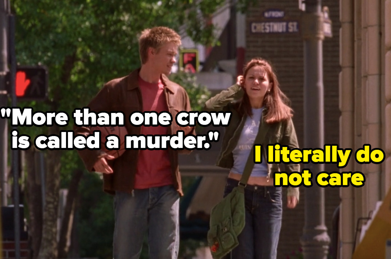 Lucas tells Haley that more than one crow is called a murder