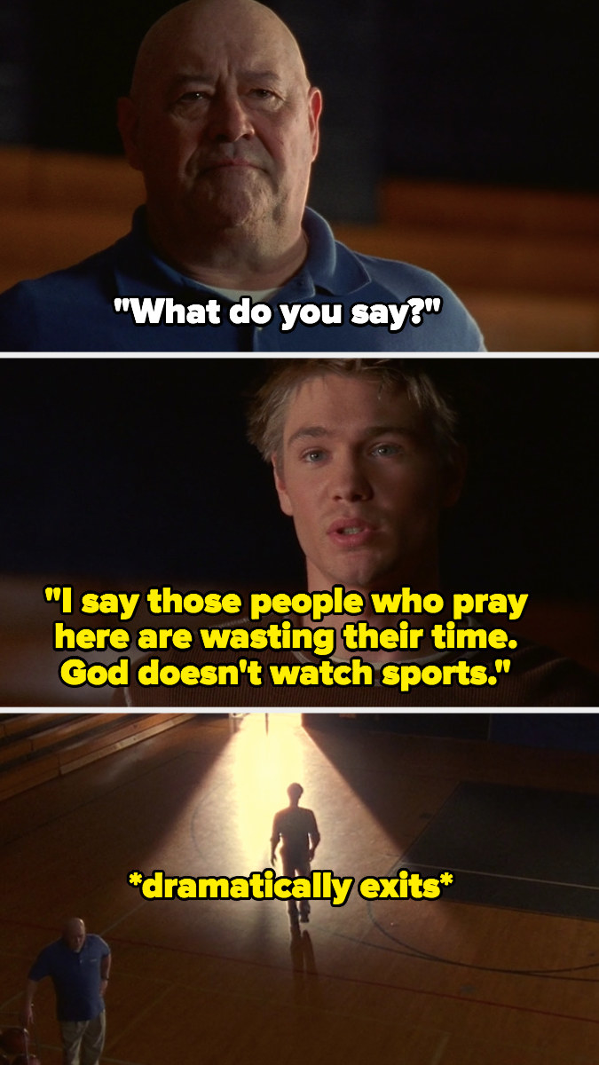 """Lucas tells Whitey, """"I say the people who pray here are wasting their time, God doesn't watch sports"""" and dramatically exits gym"""