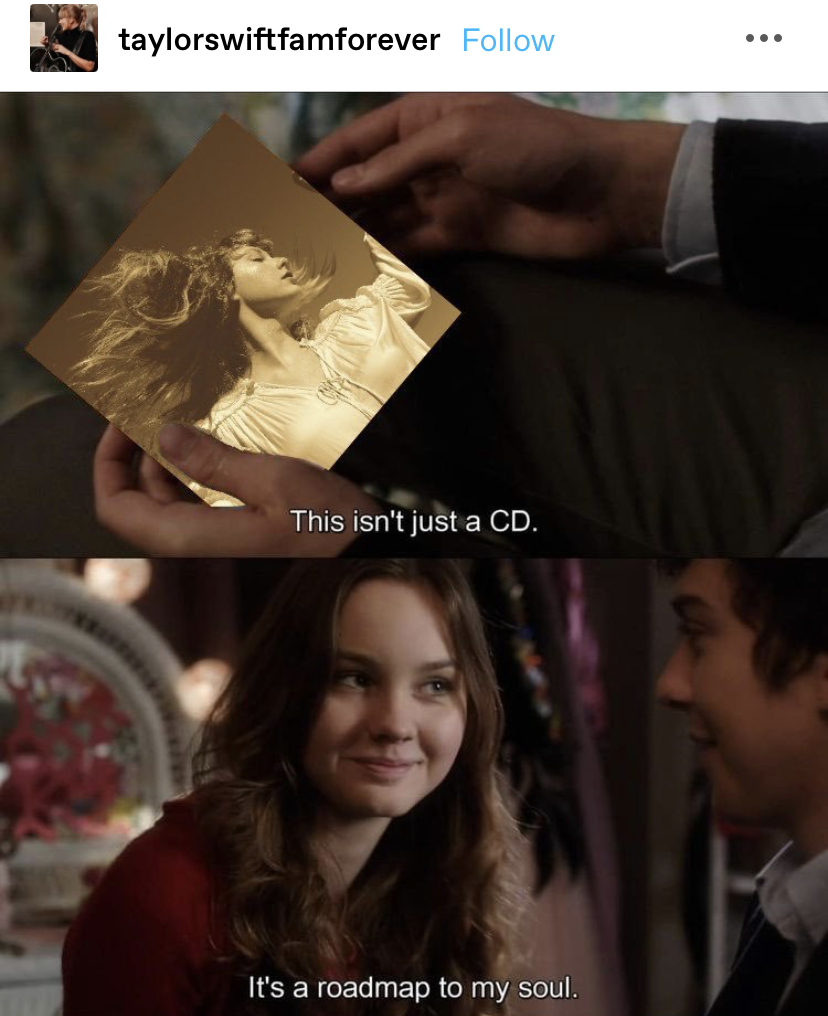 edit of a guy giving a girl a CD saying it's a roadmap to his soul but the CD is edited to be Fearless (Taylor's Version)
