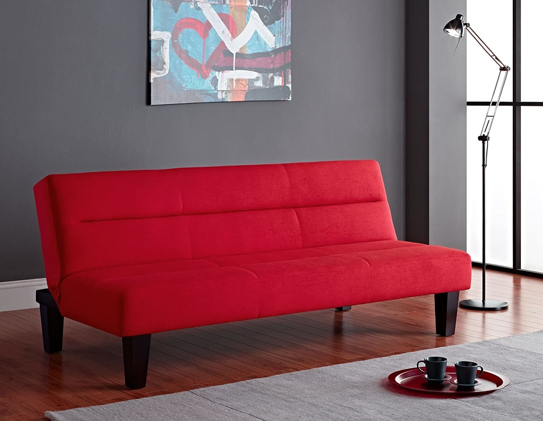 a red futon