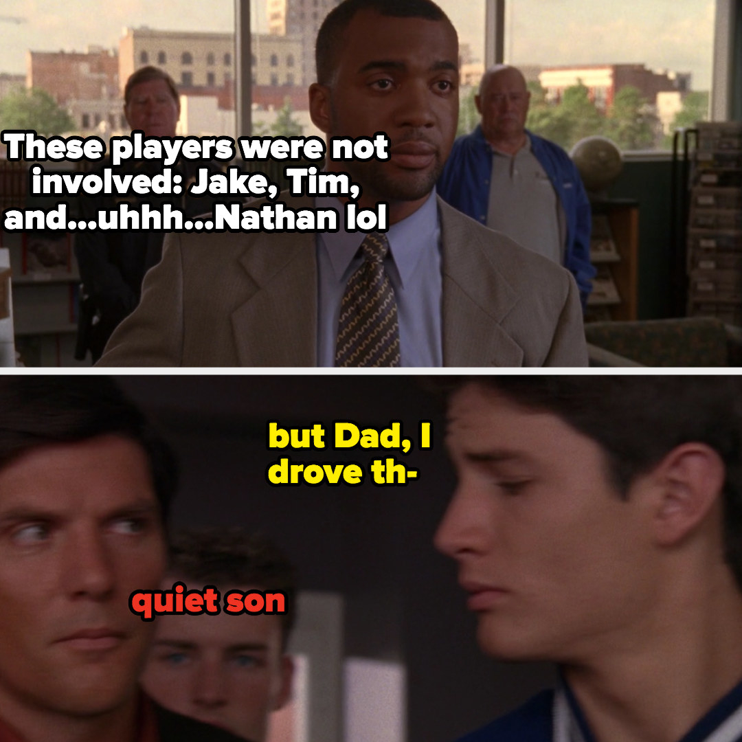 "meme of Nathan saying ""but Dad I drove"" and Dan saying ""quiet son"""
