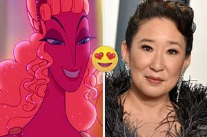 """Samantha Eggar as Hera in the movie """"Hercules"""" and Sandra Oh attends the 2020 Vanity Fair Oscar Party."""