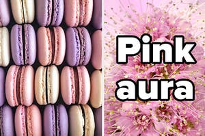 """Macarons, next to a flower and the text """"pink aura"""""""