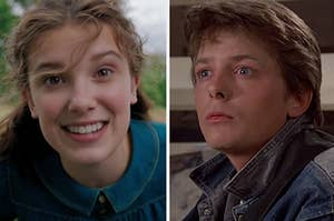 enola holmes on the left and marty mcfly on the right