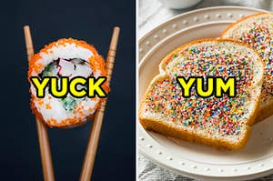 """On the left, a piece of sushi labeled """"yuck,"""" and on the right, some fairy bread labeled """"yum"""""""
