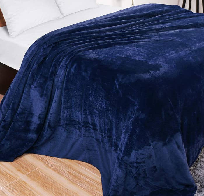 The blanket on a bed