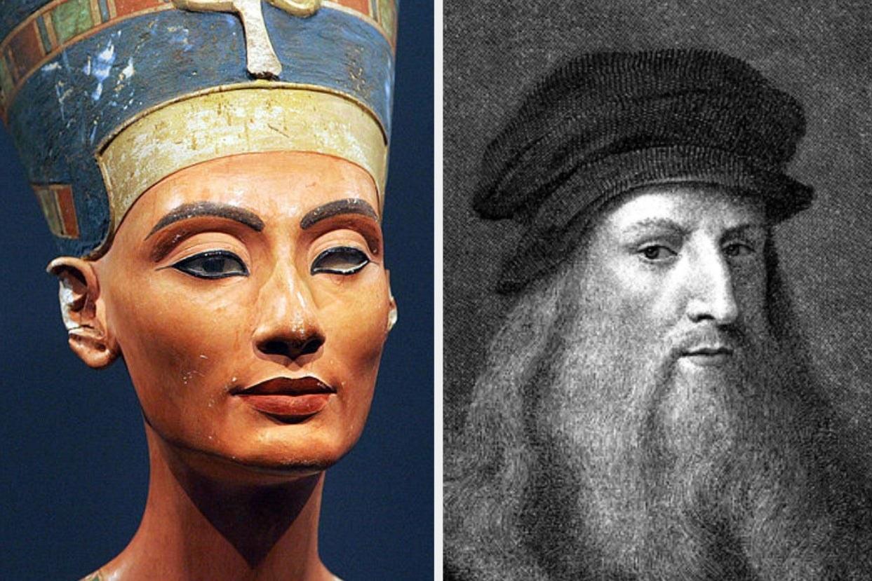 Side-by-side images of Nefertiti and Leonardo da Vinci