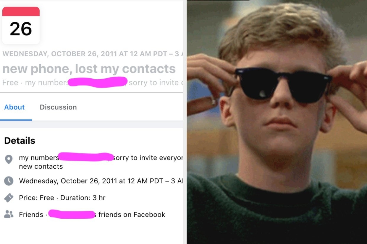"""a """"new phone, lost contacts"""" group and an image of Brian in the Breakfast Club putting on sunglasses"""