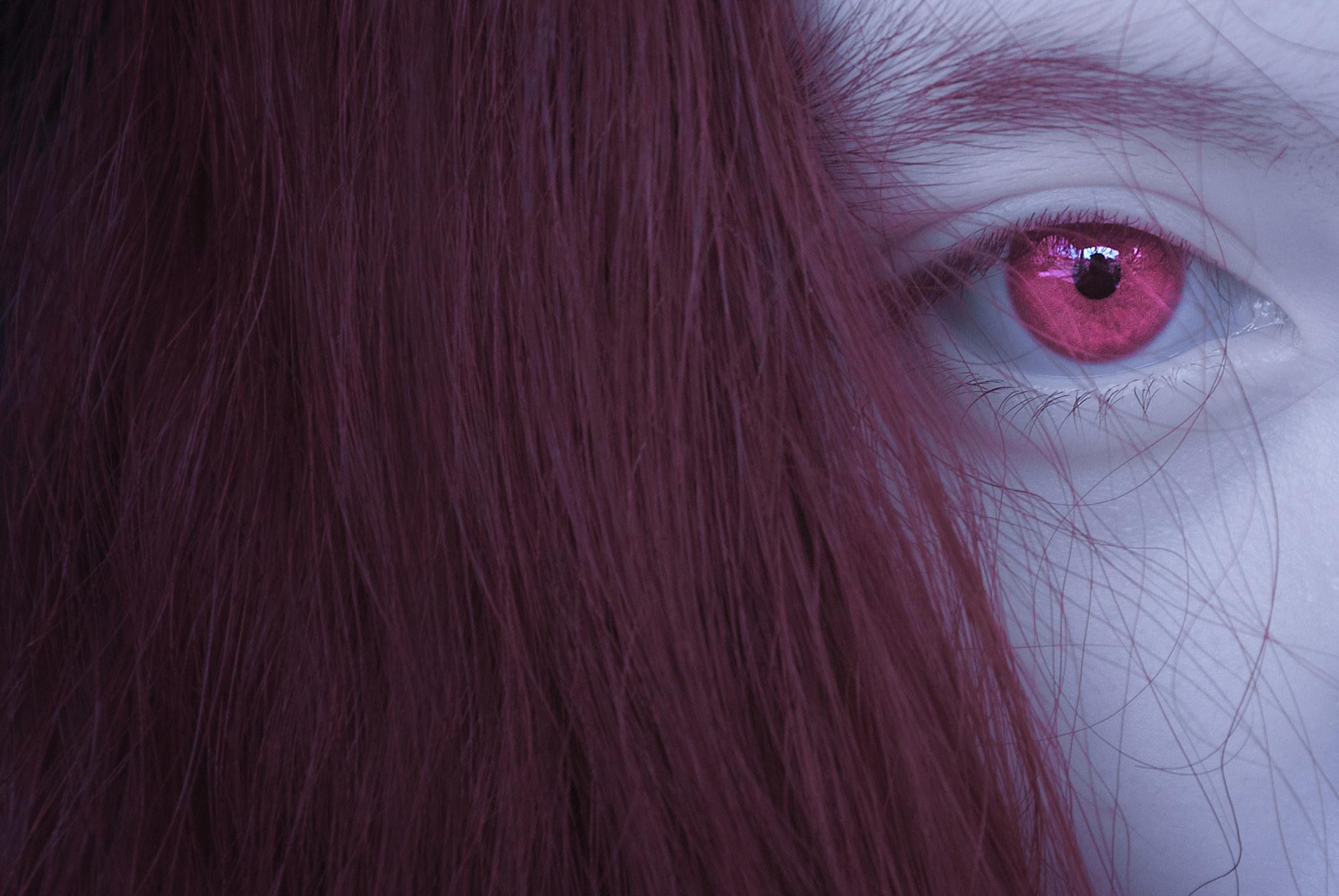 Girl with pink iris