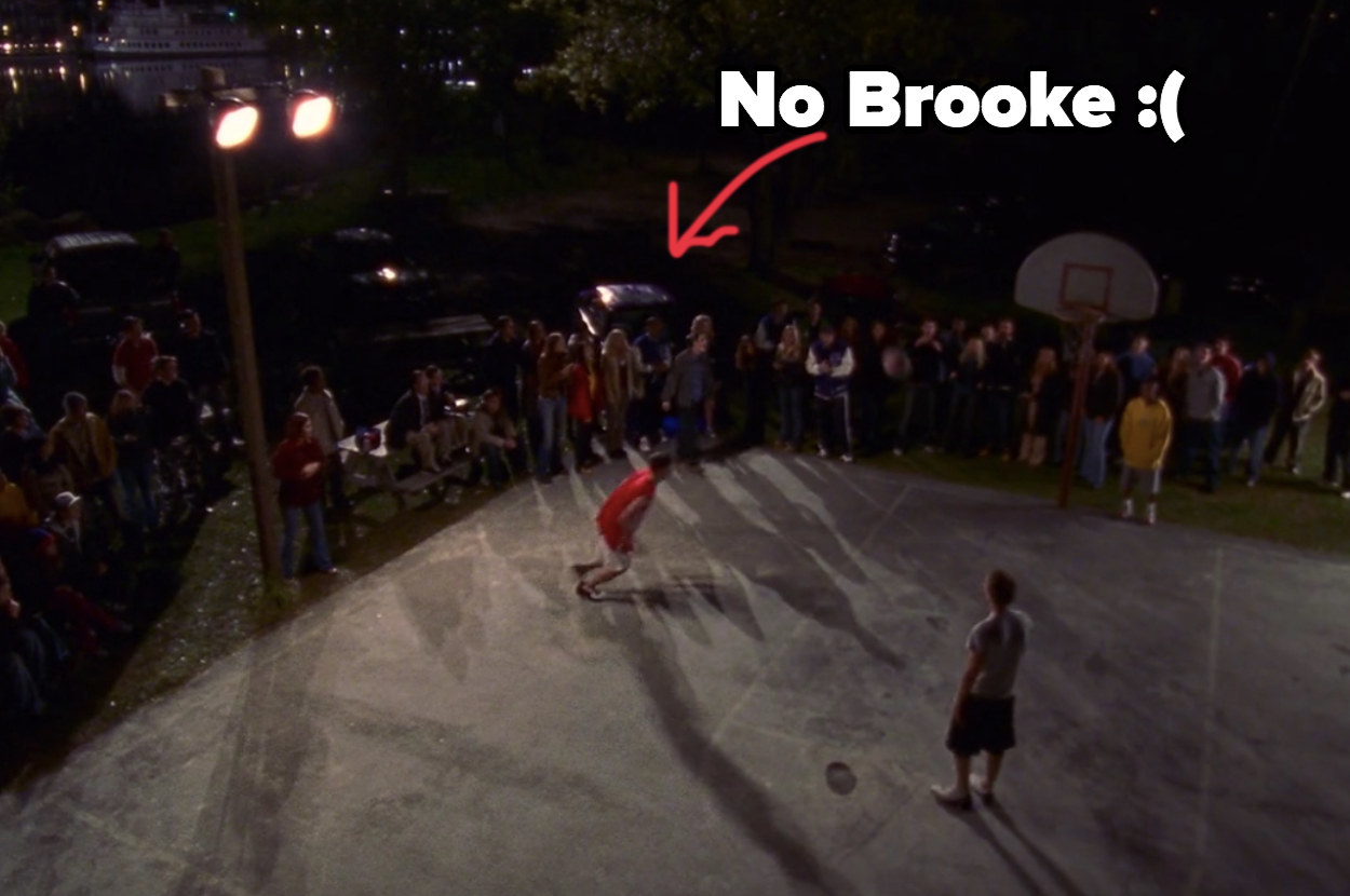 "crowd by the court captioned, ""no Brooke"" with a sad face"