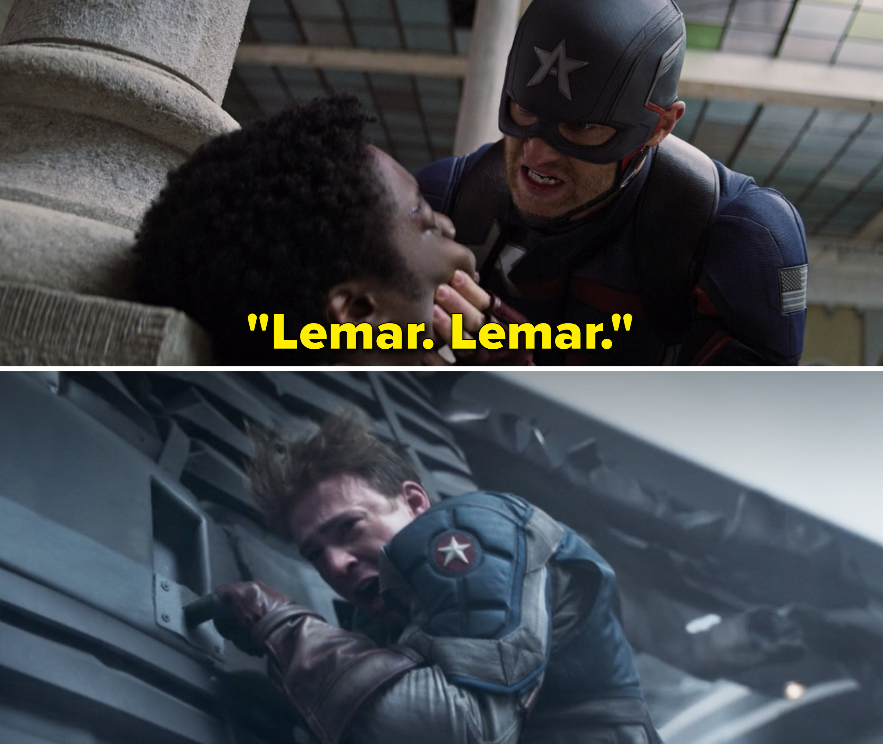 Walker over Lemar's body saying his name vs. Steve crying after Bucky fell