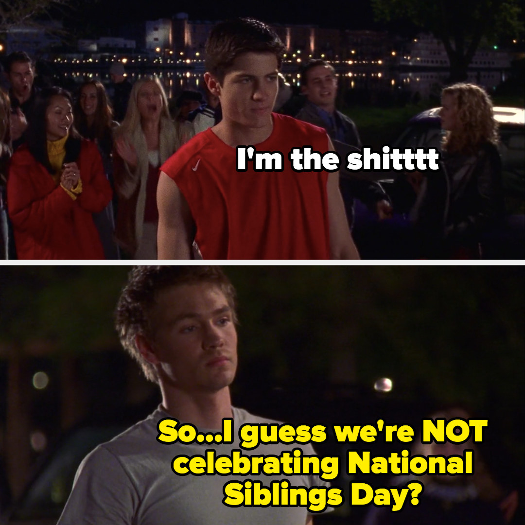"meme of Nathan walking onto the court, ""I'm the shit' and Lucas saying, ""so I guess we're not celebrating National Siblings Day?"""