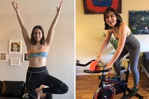 (left) Graphic print sports bra (right) Beyond Yoga set