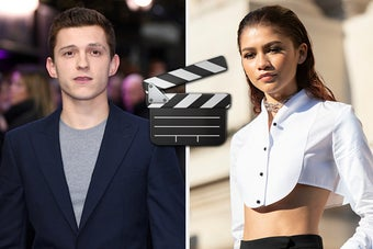 Tom Holland is on the left with Zendaya on the right and a director emoji in the center