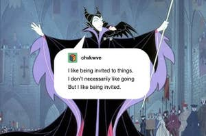 Maleficent with a Tumblr post in a speech bubble that says