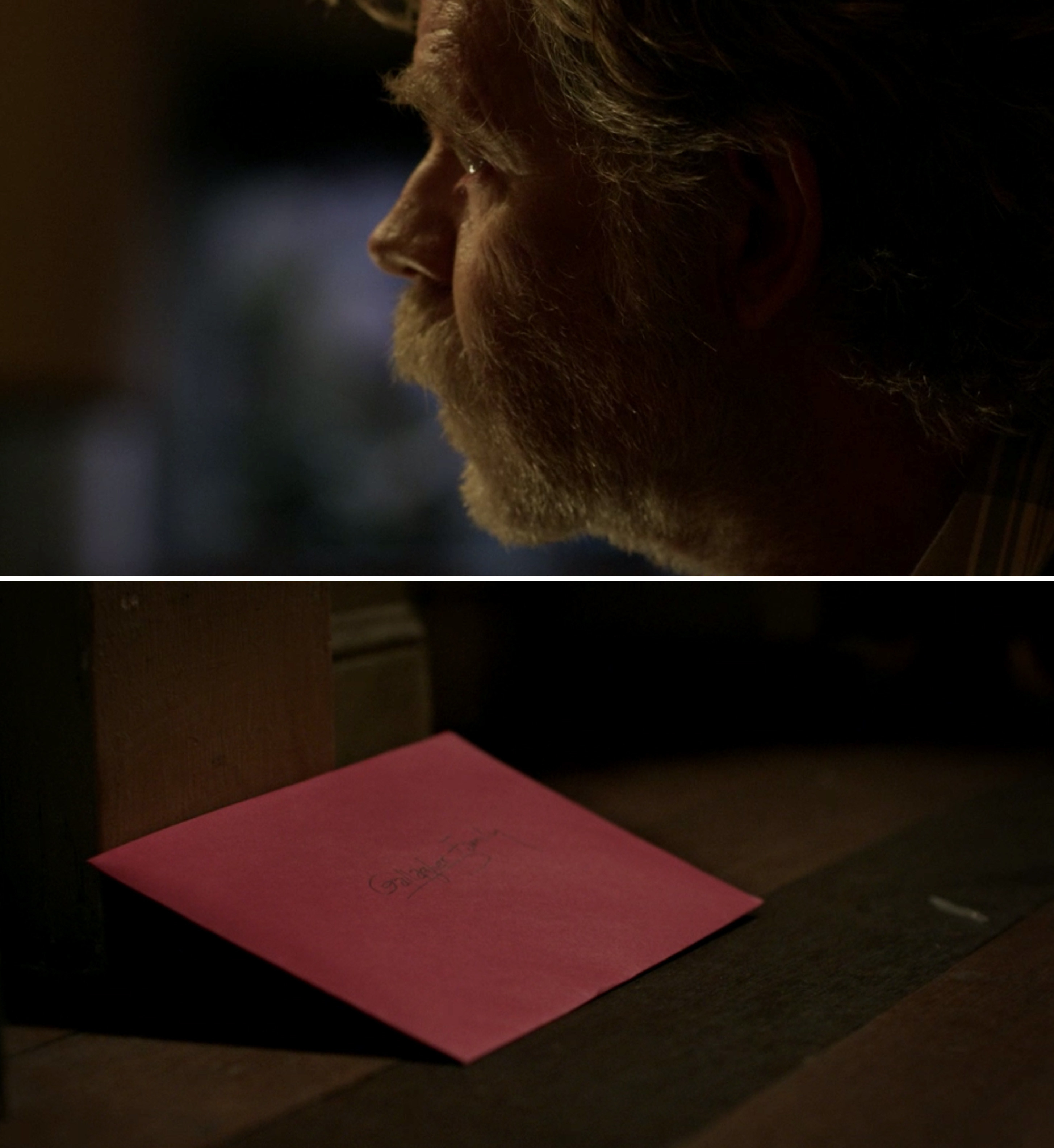 """A red envelope reading """"Gallagher Family"""""""