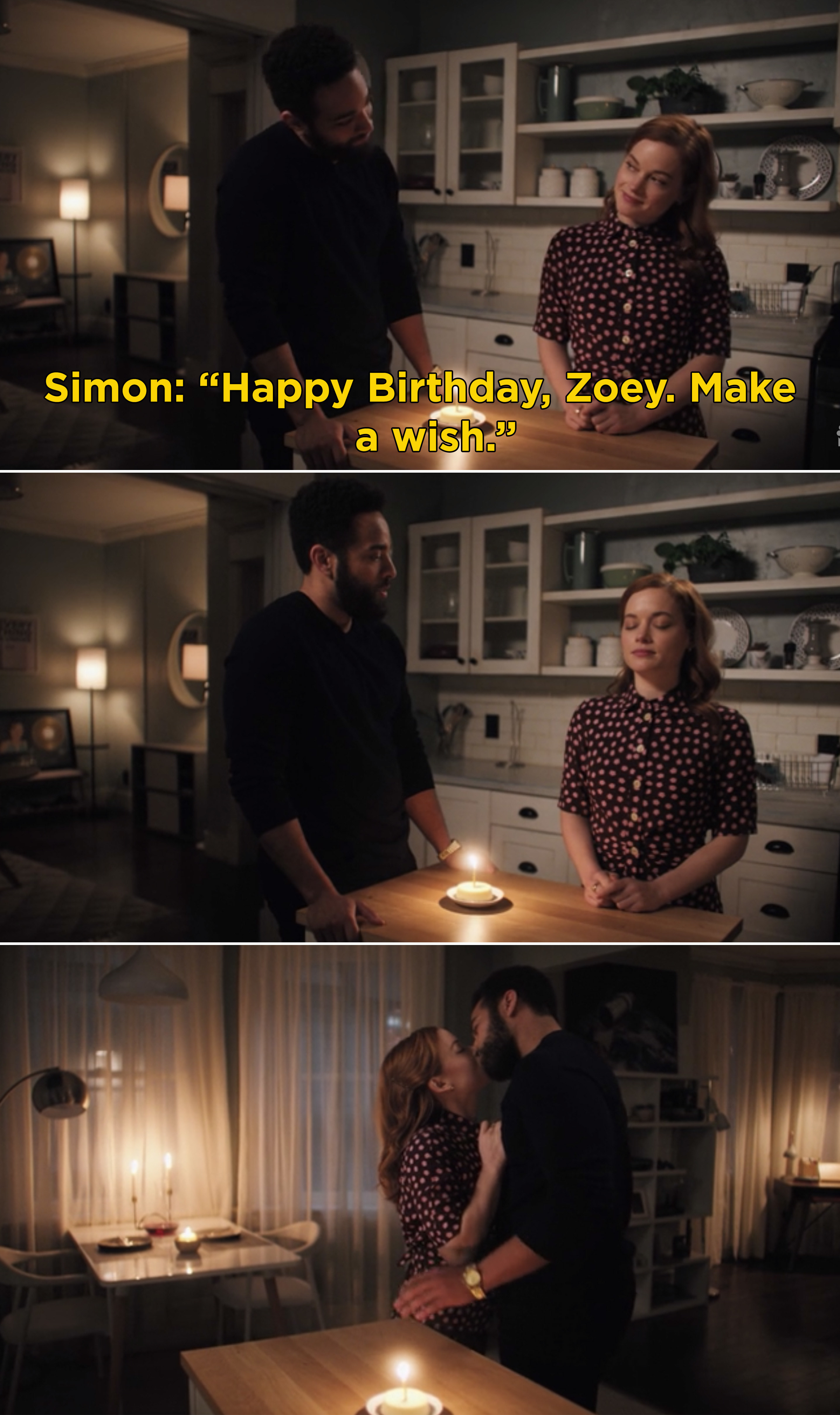 Simon wishing Zoey a happy birthday before they kiss
