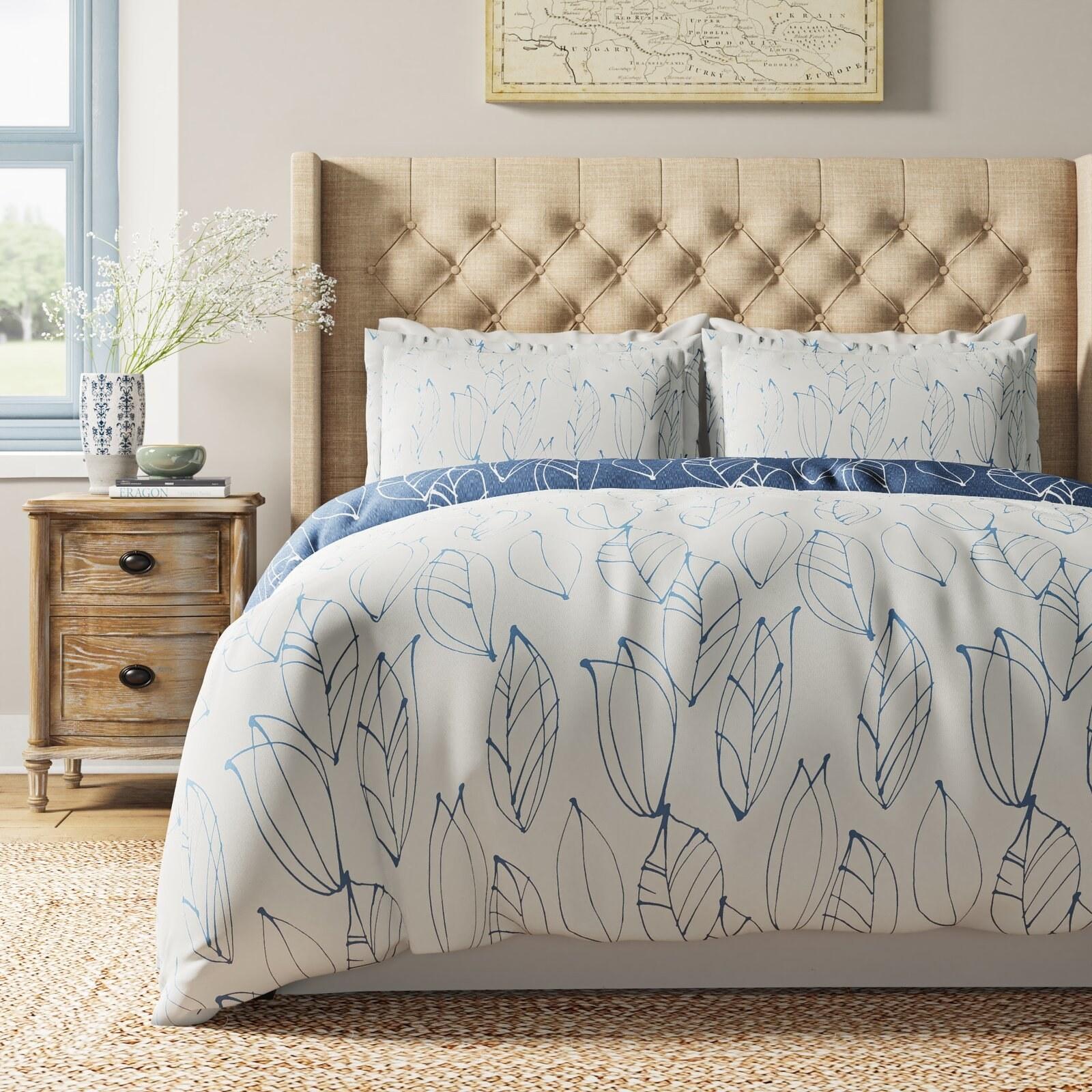 the floral cream and blue duvet set