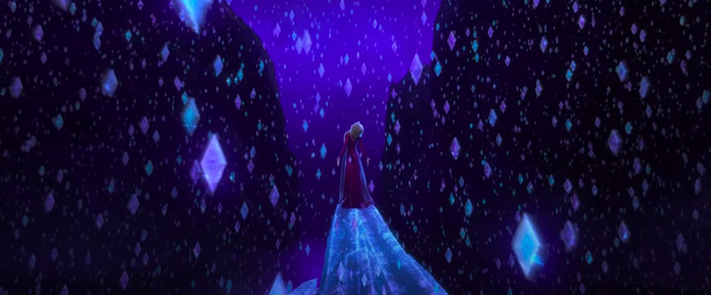 """Elsa standing around frozen diamonds in """"Frozen II"""""""