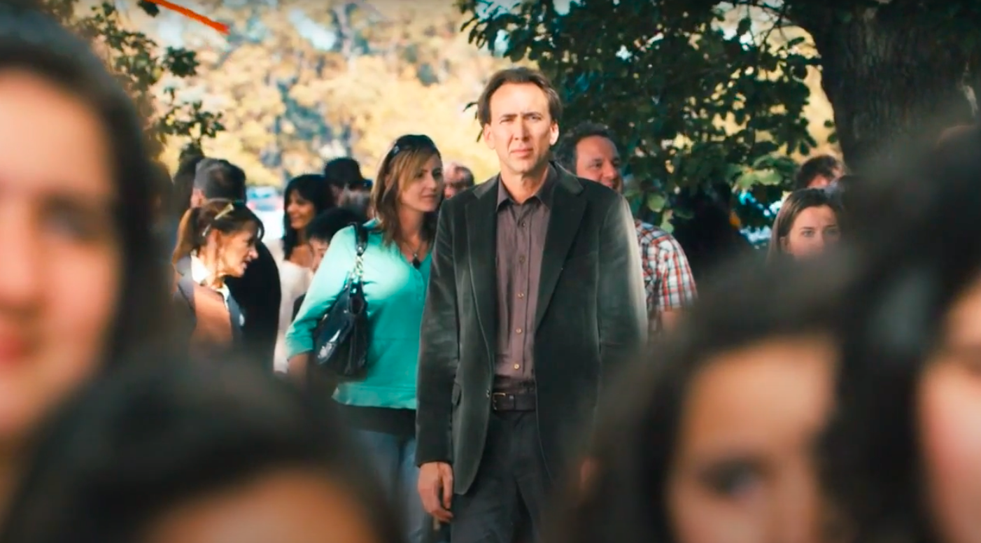 """John from """"Knowing"""" looking at a crowd awkwardly"""