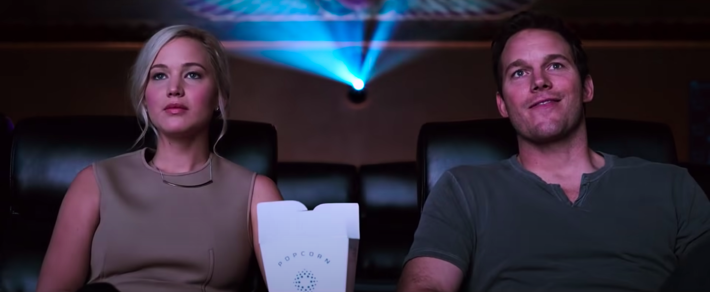 """Aurora and Jim watching a movie in """"Passengers"""""""