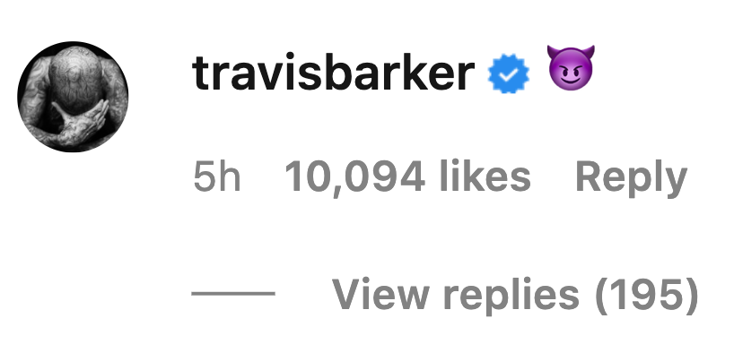 An Instagram comment from Travis Barker shows him using a smiling face with horns emoji