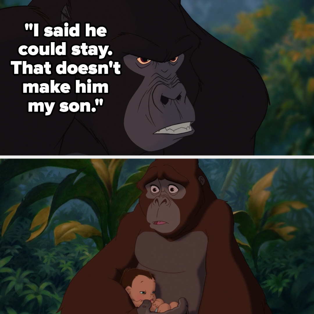 Kerchak tells Kala that Tarzan can stay but he's not his son