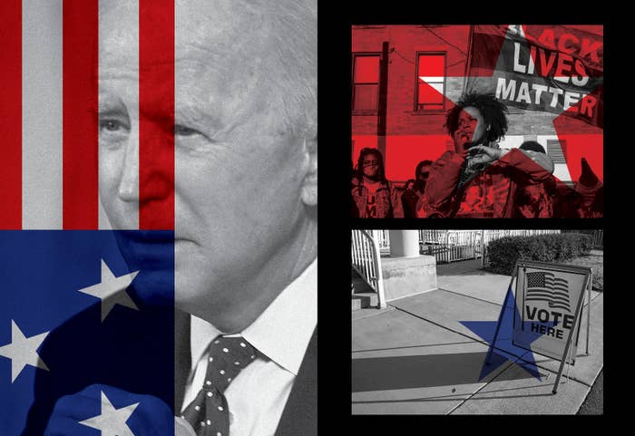 """Composite photos of Joe Biden and the US flag, along with an image of a Black Lives Matter protest and a """"Vote here"""" sidewalk sign"""