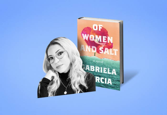 """Black and white cutout of Gabriela Garcia's headshot, placed in front of her book, """"Of Women and Salt."""""""