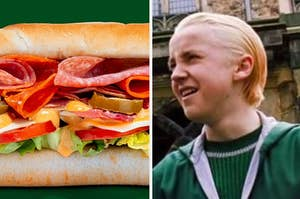 A Subway sandwich is shown on the left with Draco on the right