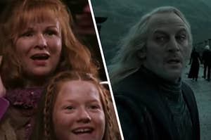 Molly Weasley is on the left with Lucius Malfoy on the right